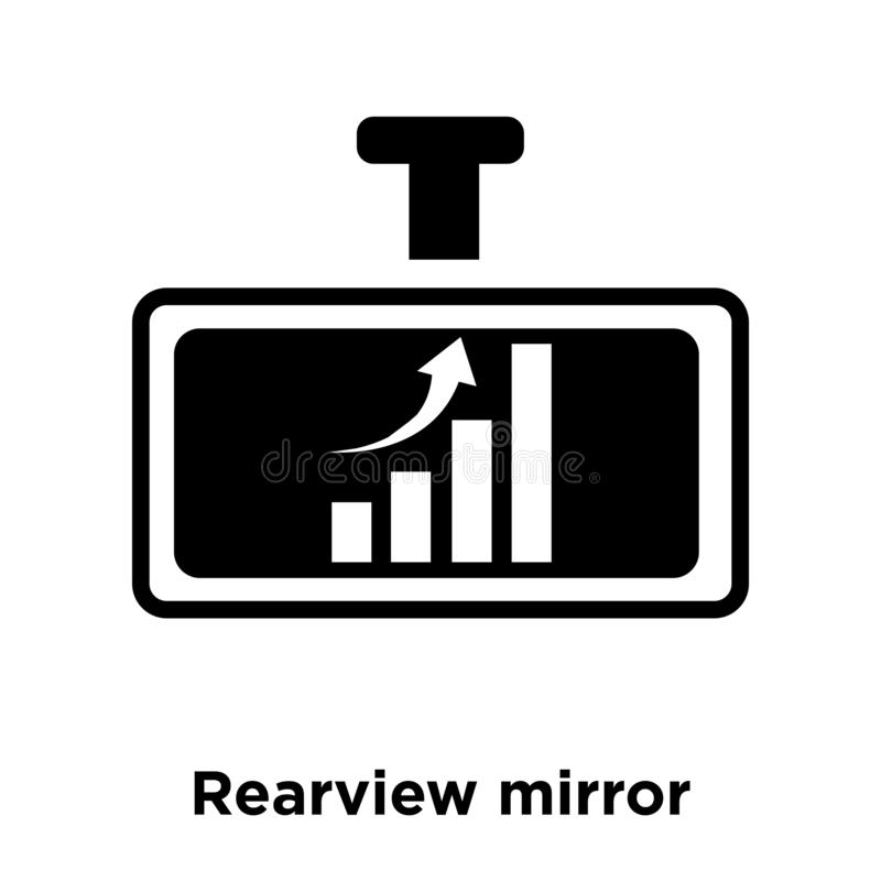 Rearview lustra ikony wektor odizolowywający na białym tle, logo c royalty ilustracja