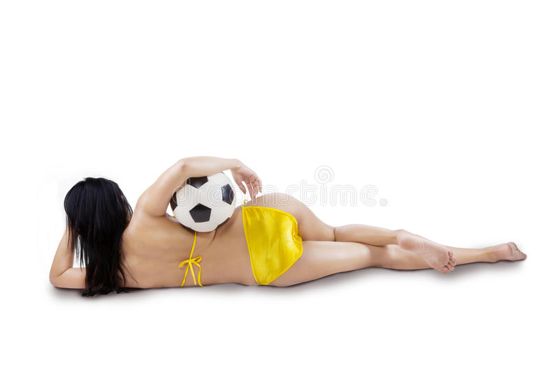 Rearview of woman with ball isolated stock photo