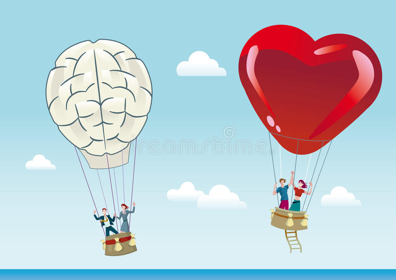 Reason and Emotion Balloons vector illustration