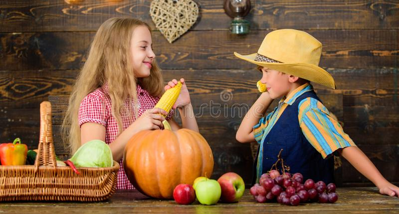 Reasons why every child should experience farming. Held responsible for daily farm chores. Kids farmers girl boy. Vegetables harvest. Family farm. Children stock photos