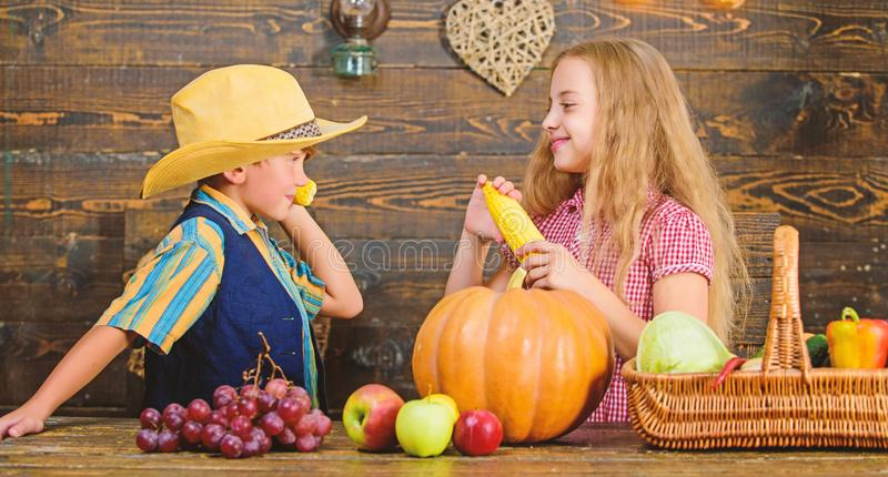 Reasons why every child should experience farming. Held responsible for daily farm chores. Kids farmers girl boy. Vegetables harvest. Family farm. Children royalty free stock photography