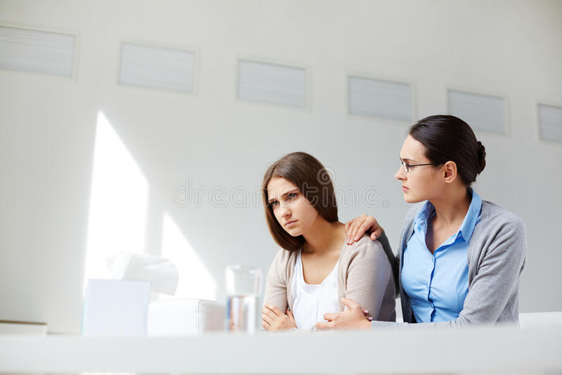 Reassuring patient stock image