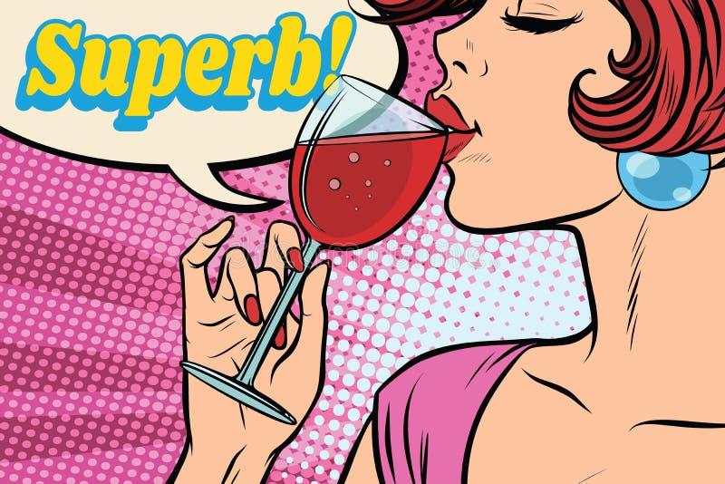 Reazione eccellente Donna che beve vino rosso illustrazione vettoriale