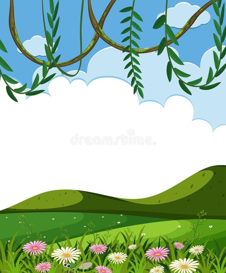 Reb-und grüne Hügel-Schablone lizenzfreie abbildung
