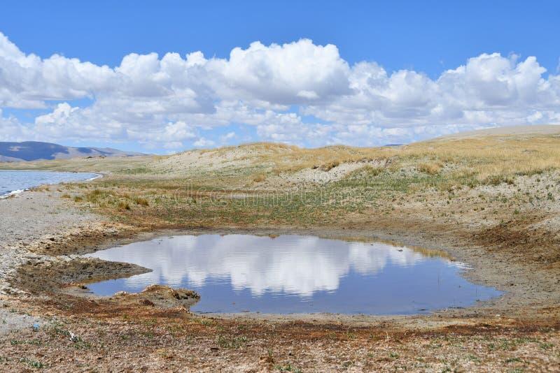 Rebaixo pequeno enchido com água na costa do lago Tere Tashi Namtso no verão no tempo claro imagem de stock royalty free