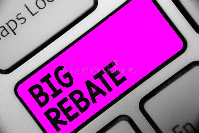 Rebaja grande del texto de la escritura de la palabra Concepto del negocio para las recompensas enormes que pueden conseguir cuan imagen de archivo libre de regalías