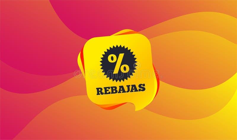 Rebajas - descuentos en icono de la muestra de España Estrella Vector stock de ilustración