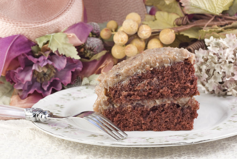 Rebanada alemana de la torta de chocolate imagen de archivo libre de regalías