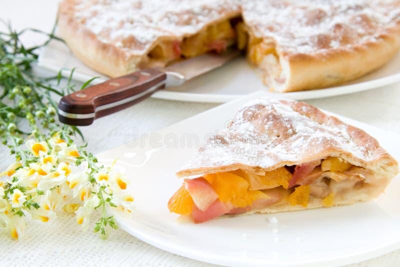 Rebanada de empanada con las manzanas y los albaricoques secados foto de archivo