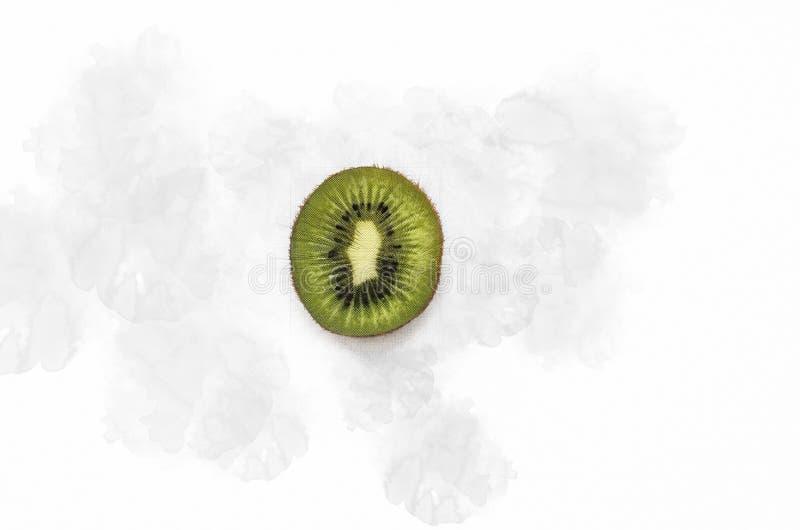 Rebanada de fruta de kiwi fresca aislada en el fondo blanco Frutas tropicales ecológicas fotografía de archivo