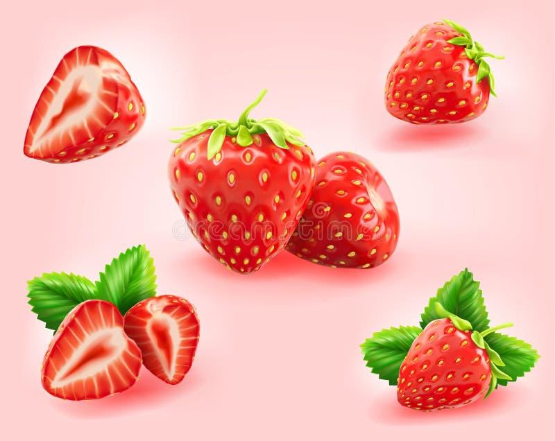 Rebanada de la fresa, medio, fresca con la hoja de la fresa aislada libre illustration