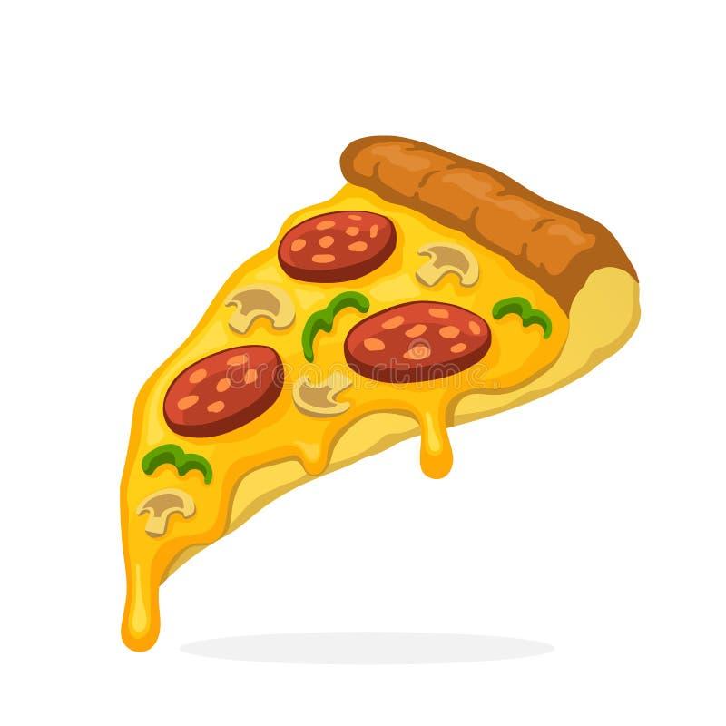 Rebanada de la pizza con los salchichones y las setas derretidos del queso ilustración del vector
