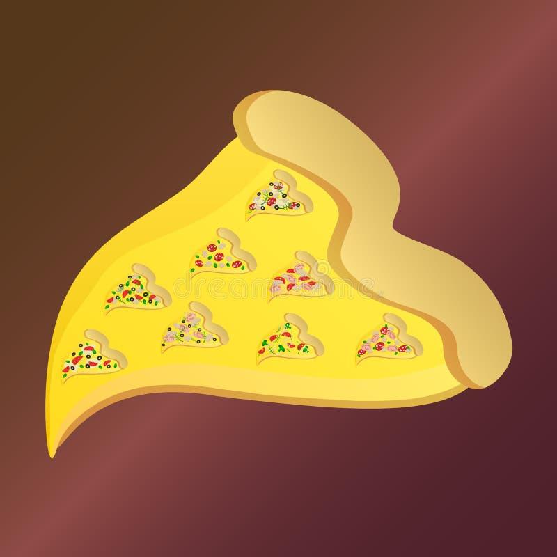 Rebanada de la pizza con ocho pequeñas rebanadas de la pizza ilustración del vector