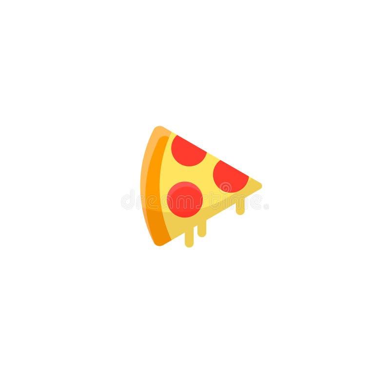 Rebanada de la pizza con queso y salchichones derretidos ilustración del vector