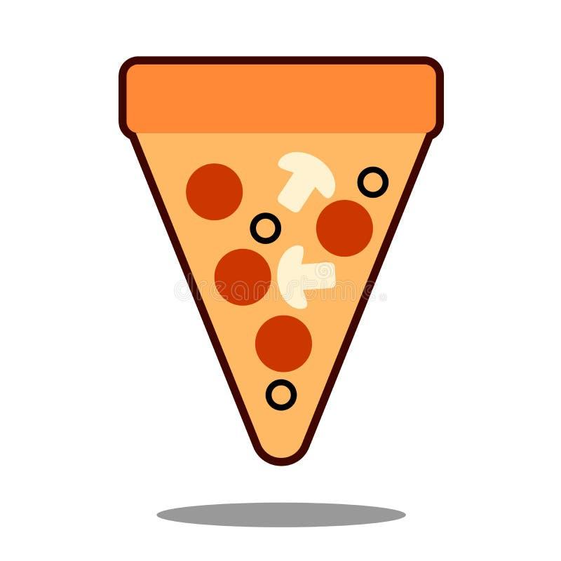 Rebanada de la pizza con queso y salchichones derretidos Etiqueta engomada de la historieta en estilo cómico con contorno Decorac libre illustration