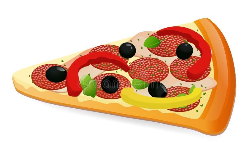Rebanada de la pizza de queso ilustración del vector