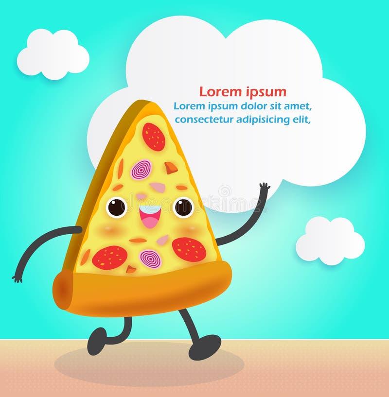 Rebanada de la pizza divertida Comida r?pida Dise?o del cartel de la pizza Personaje de dibujos animados del ejemplo del vector a stock de ilustración