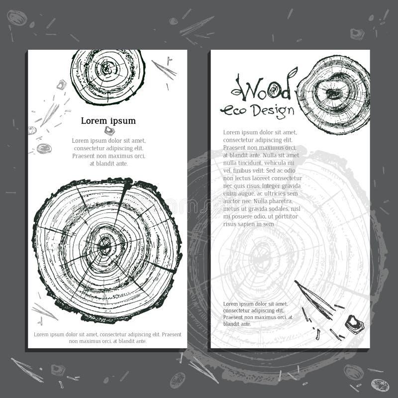 Rebanada de madera dibujada mano del vector Árbol de pino Ecolog moderno orgánico ilustración del vector