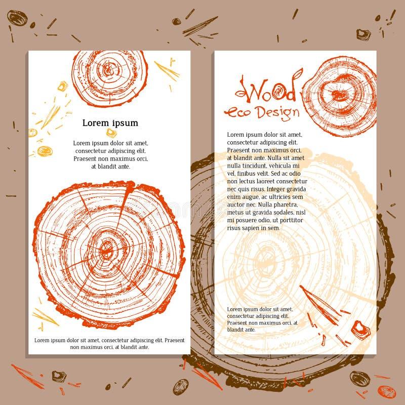 Rebanada de madera dibujada mano del vector Árbol de pino Ecolog moderno orgánico libre illustration
