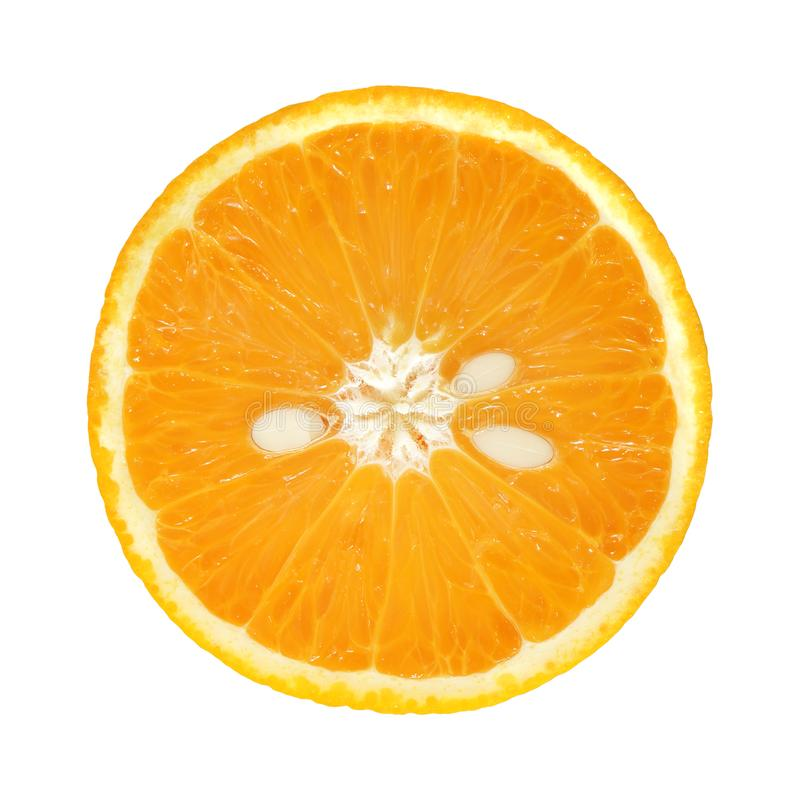 Rebanada de naranja fresca con la semilla aislada en el fondo blanco imagenes de archivo