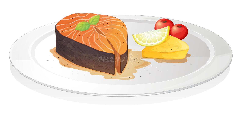 Rebanada de pescados cocinada con el limón, el queso y bayas ilustración del vector