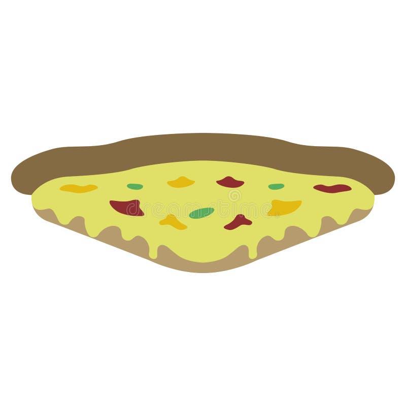 Rebanada de pizza aislada en un fondo blanco ilustración del vector