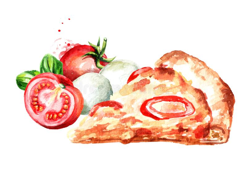 Rebanada de pizza caliente deliciosa con el tomate fresco Ejemplo dibujado mano de la acuarela aislado en el fondo blanco stock de ilustración