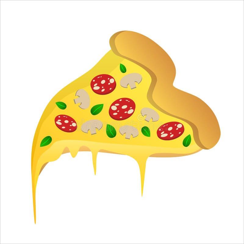 Rebanada de pizza con los salchichones y el queso stock de ilustración