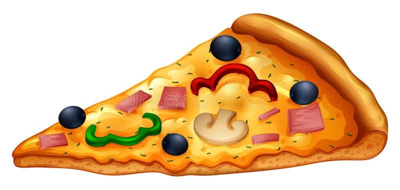 Rebanada de pizza en blanco ilustración del vector