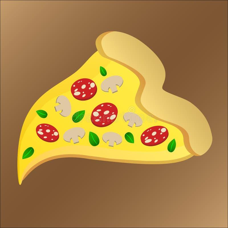 Rebanada de pizza sabrosa con los salchichones y el queso stock de ilustración