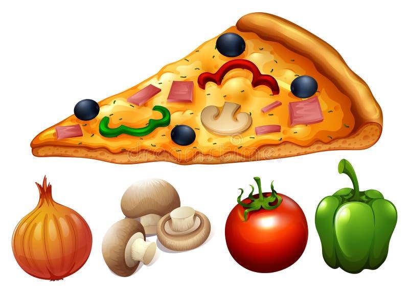 Rebanada de pizza y de ingredientes ilustración del vector