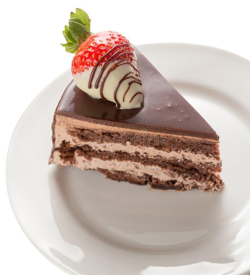 Rebanada de torta de chocolate fotografía de archivo libre de regalías