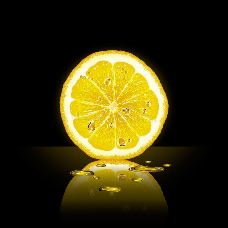 Rebanada del limón en fondo negro ilustración del vector