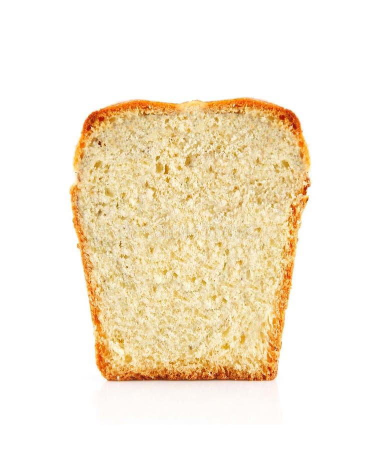 Rebanada del pan aislada en blanco fotos de archivo
