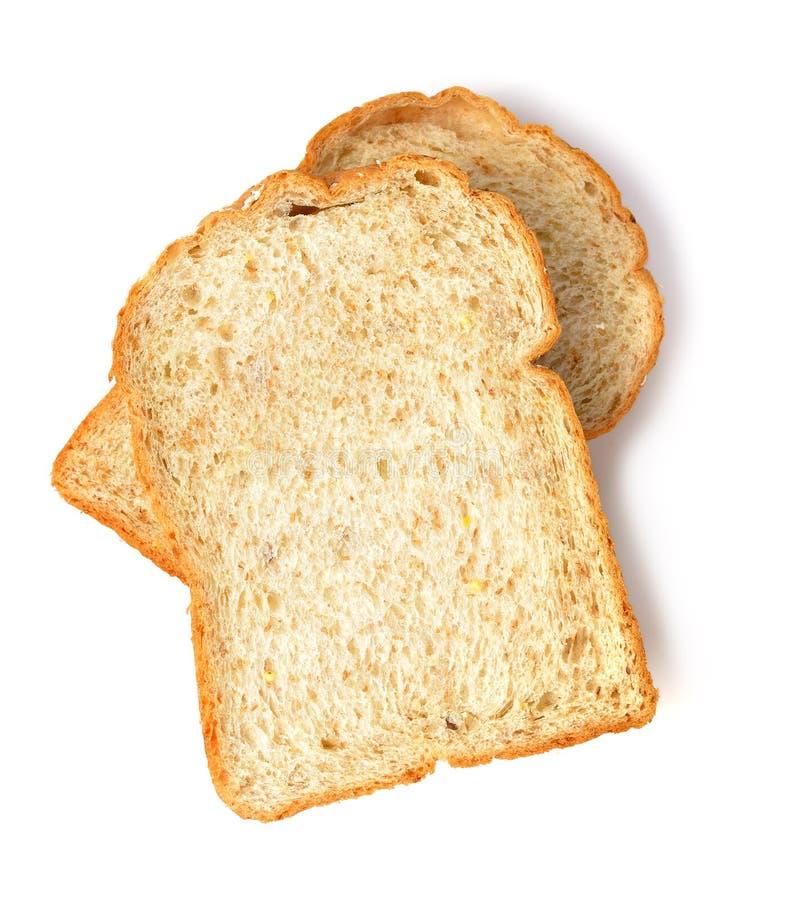 Rebanada del pan de la tostada aislado en el fondo blanco fotografía de archivo