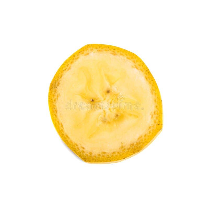 Rebanada del plátano aislada en el fondo blanco imagen de archivo