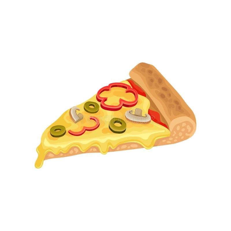 Rebanada del triángulo de pizza clásica con queso, salsa de tomate, aceitunas verdes, las setas y la pimienta Alimentos de prepar stock de ilustración