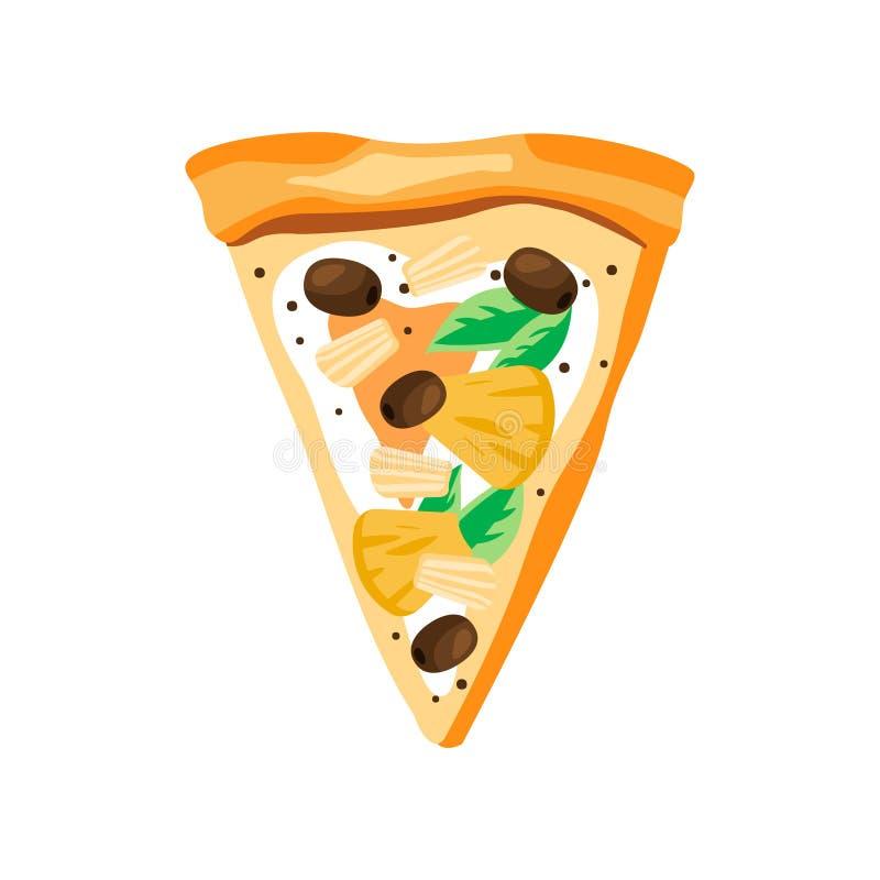 Rebanada del triángulo de pizza con las piñas, las aceitunas, la mozzarella y las hojas de la albahaca Alimentos de preparación r stock de ilustración
