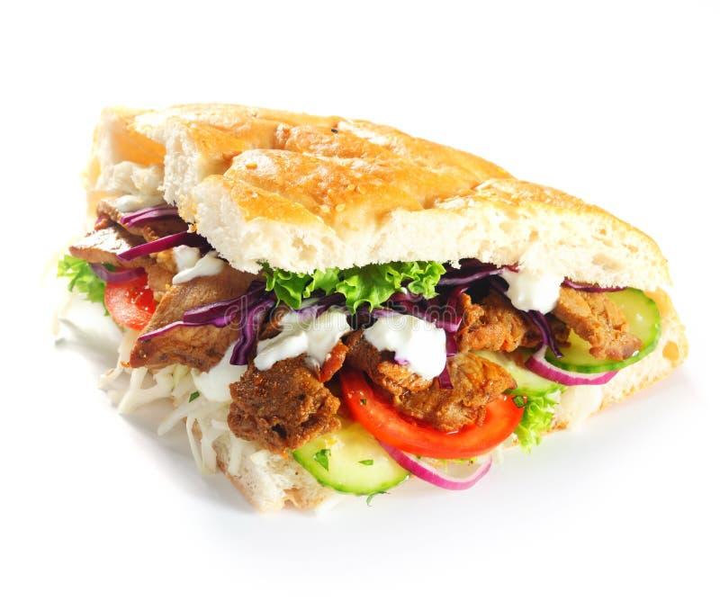 Rebanada Fried Meat de la hamburguesa de Doner y Veggies fotografía de archivo libre de regalías