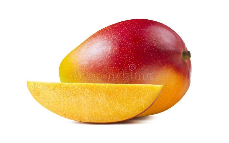 Rebanada horizontal del pedazo del mango aislada en el fondo blanco fotos de archivo libres de regalías