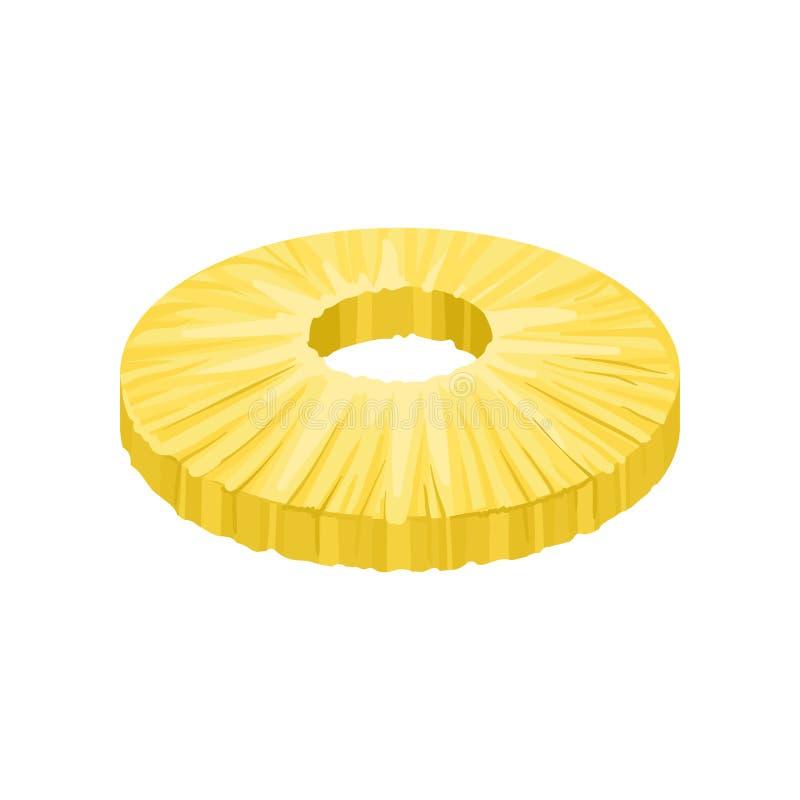 Rebanada pelada redonda de piña dulce Fruta tropical fresca y sabrosa Elemento plano detallado del vector para el jugo o el yogur stock de ilustración