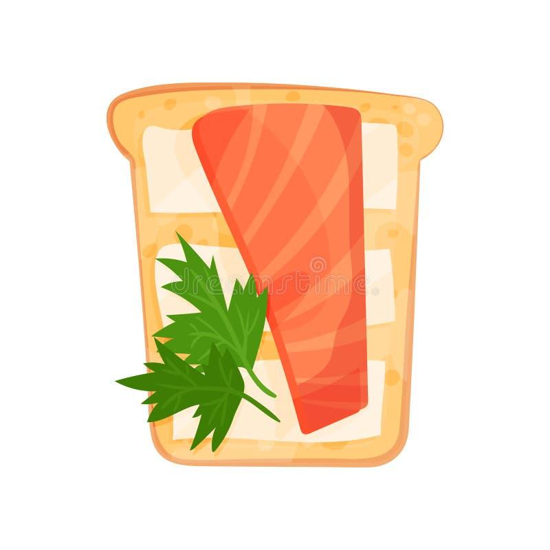 Rebanada tostada del pan con el prendedero, la mantequilla y el perejil del salmón ahumado Bocado delicioso Tema del alimento Dis ilustración del vector