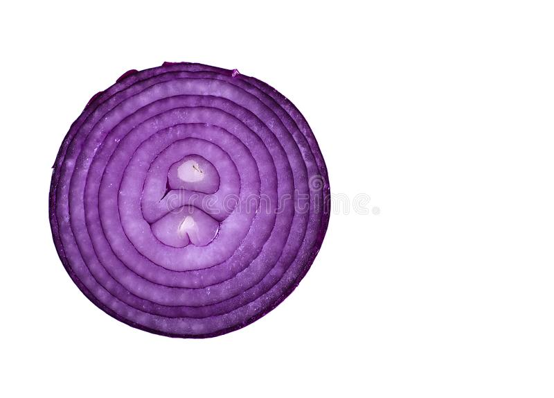 Rebanada violeta en un fondo blanco, visión superior de la cebolla foto de archivo