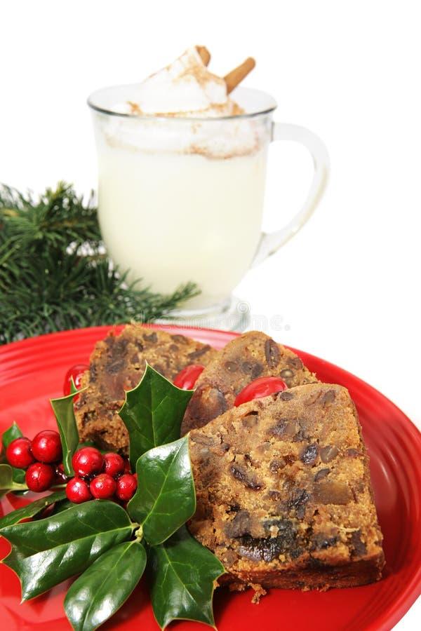 Rebanadas de Fruitcake de la Navidad imágenes de archivo libres de regalías