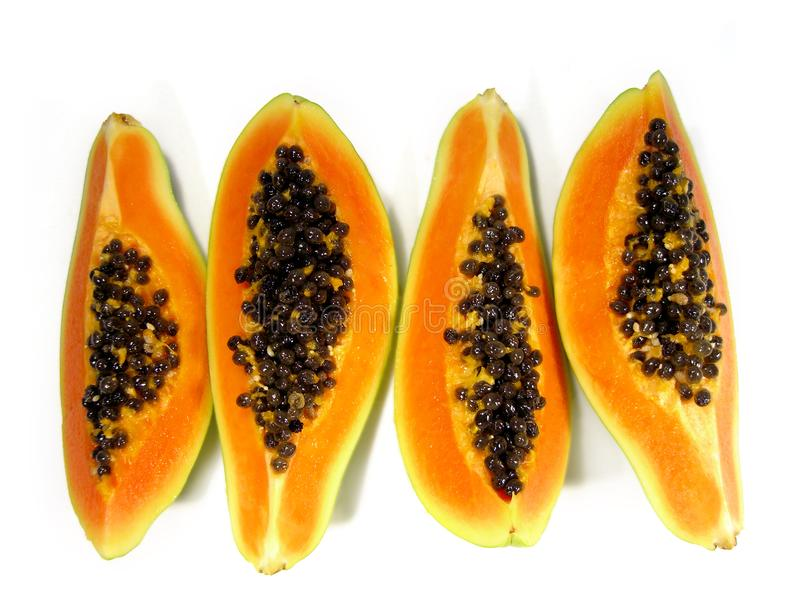 Rebanadas de la papaya foto de archivo