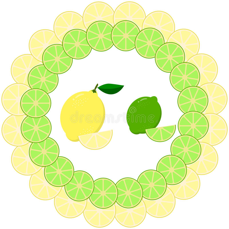 Rebanadas de limón y de cal en un marco redondo stock de ilustración