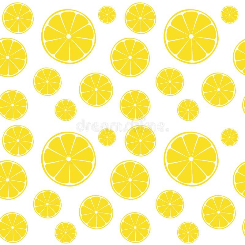 Rebanadas de los limones en el modelo inconsútil blanco stock de ilustración