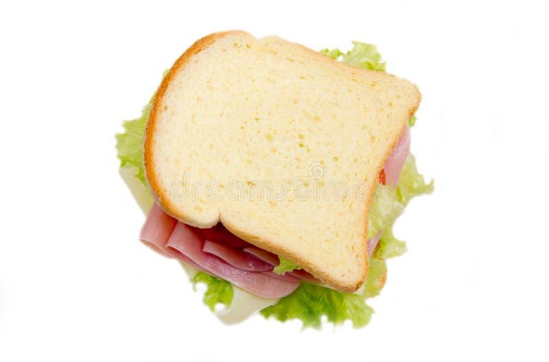 Rebanadas de pan con el jamón y la ensalada desde arriba fotos de archivo libres de regalías