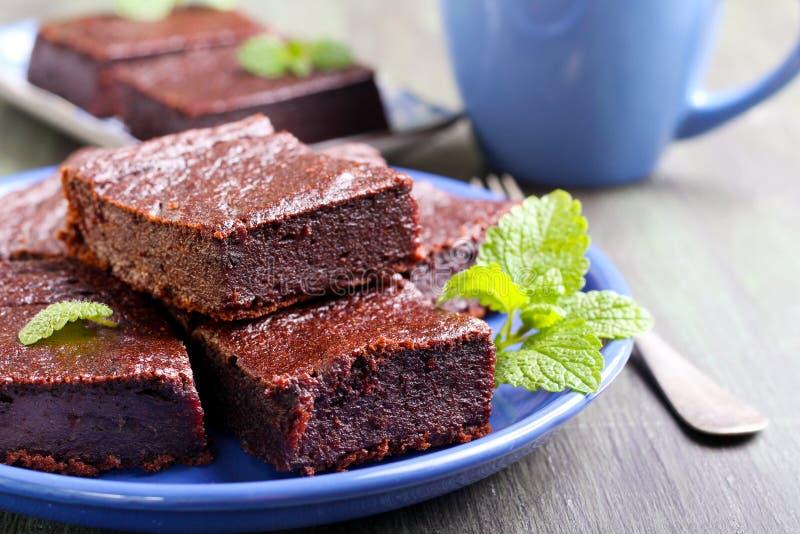 Rebanadas del brownie del chocolate y de la calabaza imagen de archivo