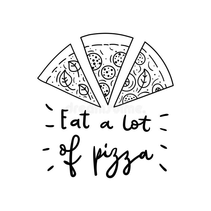 Rebanadas dibujadas mano de su pizza preferida Ejemplo del garabato libre illustration